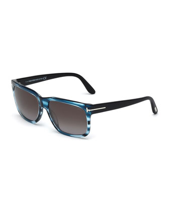 Barbara Rectangle Sunglasses, Blue Stripes