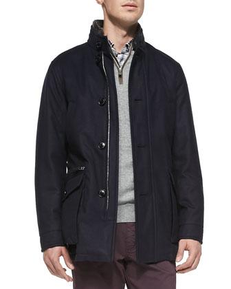 Safari Coat with Shearling Fur Collar, Navy