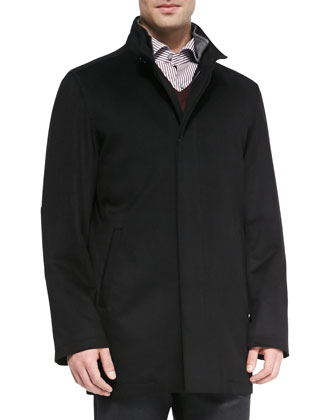 Cashmere/Wool Single-Breasted Coat, Black