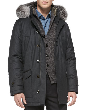 Wool-Blend Parka with Fur Trim, Gray