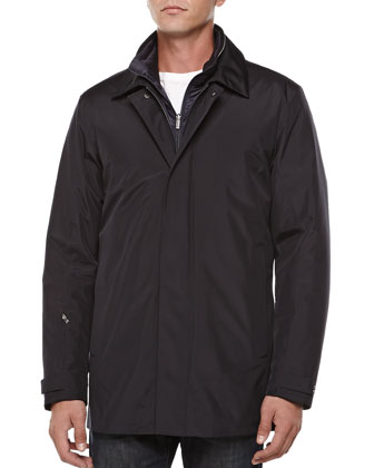 Techno Zip-Front Car Coat, Navy