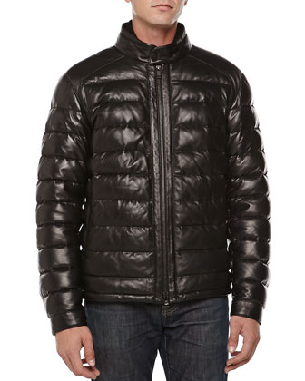 Perforated Leather Puffer Jacket, Black
