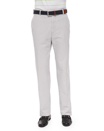 Flat-Front Twill Pants, Light Gray