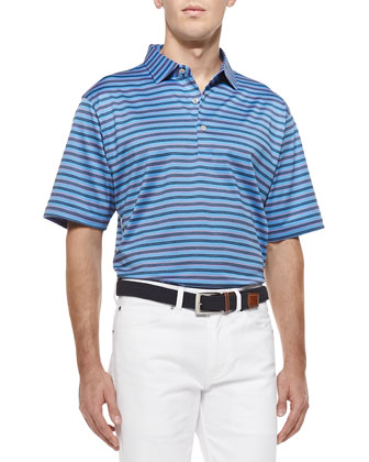 Barker-Stripe Lisle-Knit Polo, Blue