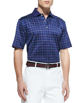 Cornelius Windowpane Polo Shirt, Navy