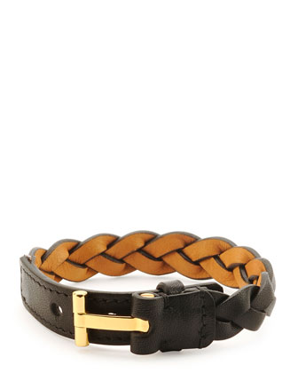 Nashville Men's Braided Leather Bracelet, Black