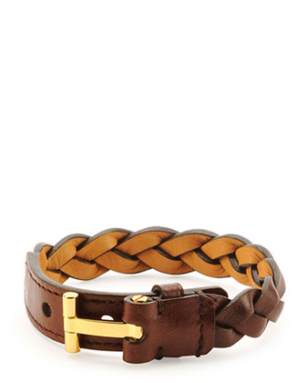 Nashville Men's Braided Leather Bracelet, Rust Brown