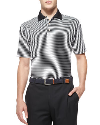 Striped Jersey Short-Sleeve Polo Shirt, Black/White
