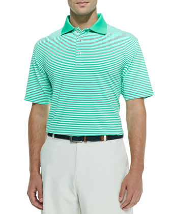 Striped Jersey Short-Sleeve Polo Shirt, Green