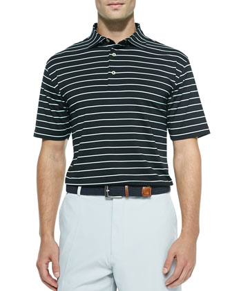 Striped Jersey Short-Sleeve Polo Shirt, Black/Mint