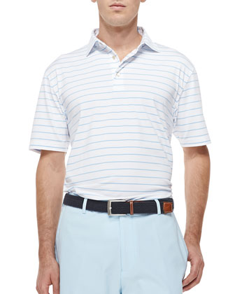 Striped Short-Sleeve Polo Shirt, White/Blue