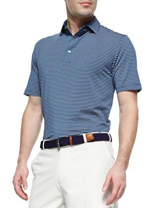Striped Short-Sleeve Polo Shirt, Blue