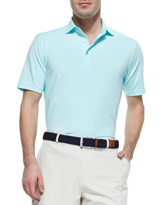 Striped Short-Sleeve Polo Shirt, Mint