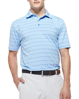 Striped Jersey Short-Sleeve Polo Shirt, Light Blue