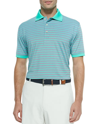 Striped Jersey Short-Sleeve Polo, Gray/Mint Green