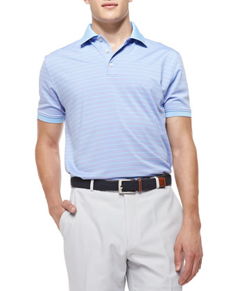 Striped Jersey Short-Sleeve Polo Shirt, Purple/Blue