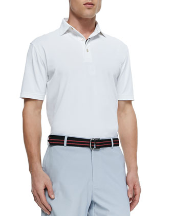 Perth Houndstooth Quarter-Zip Sweater & Basic Short-Sleeve Mesh Polo Shirt