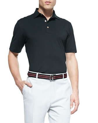 Basic Short-Sleeve Mesh Polo Shirt, Black