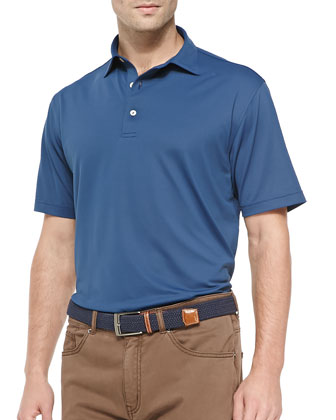 Basic Mesh Short-Sleeve Polo Shirt, Blue