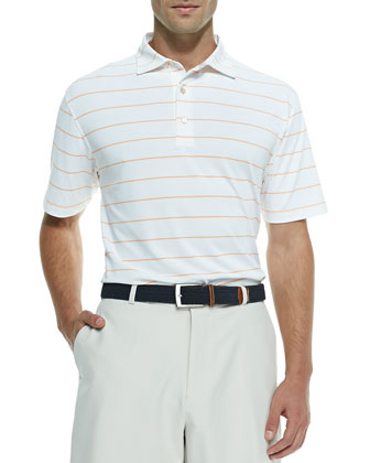 Striped Mesh Short-Sleeve Polo Shirt, White/Orange