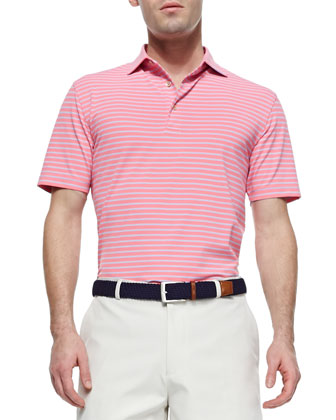 Striped Short-Sleeve Mesh Polo Shirt, Pink