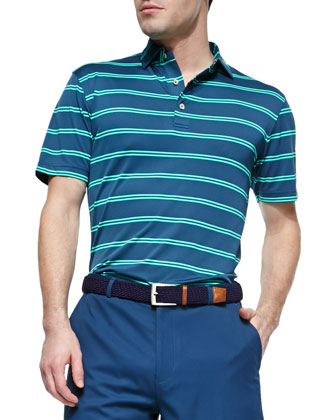 Striped Short-Sleeve Polo Shirt, Blue/Green