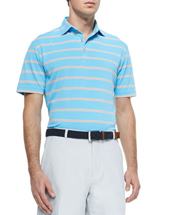 Striped Short-Sleeve Mesh Polo Shirt, Blue/Orange