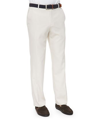 Durham High-Drape Performance Pants, Stone (Finished Hem)