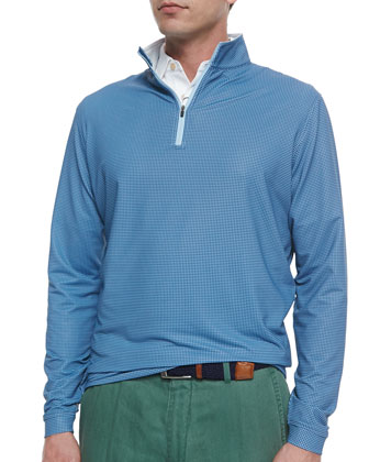 Perth Houndstooth Quarter-Zip Sweater, Blue