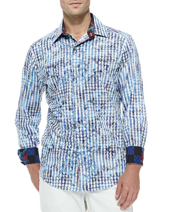 Maitai Long-Sleeve Check Sport Shirt, Blue