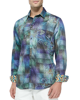 Molaa Bay Long-Sleeve Sport Shirt, Teal