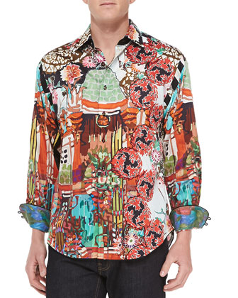 Misunderstood Abstract-Print Sport Shirt, Azul