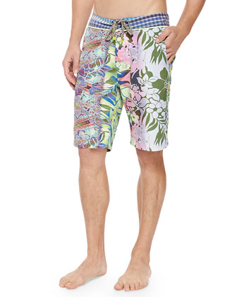 Moorea Floral-Print Swim Trunks, Multi