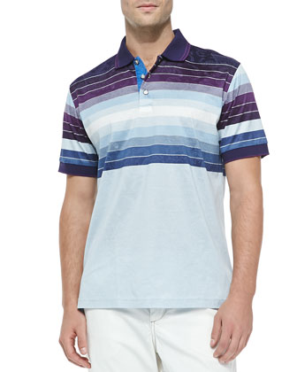 Vertical Limit Knit Striped Polo Shirt, Purple