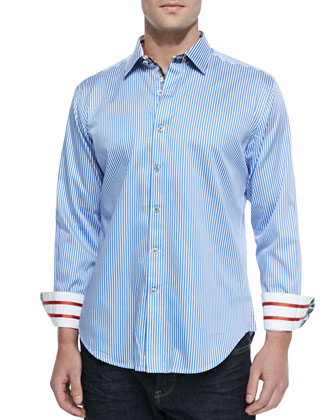 Beachcomber Striped Sport Shirt, Blue Fog