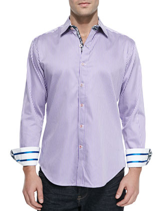 Beachcomber Striped Sport Shirt, Lilac