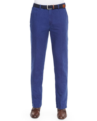 Linen/Cotton Double-Faced Pants, Blue