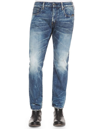 Faded Wash Straight-Leg Jeans, Blue