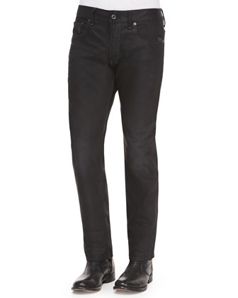 Straight-Leg Zip-Pocket Jeans, Black