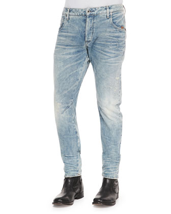 Bleached Arc 3D Slim Denim Jeans, Light Blue