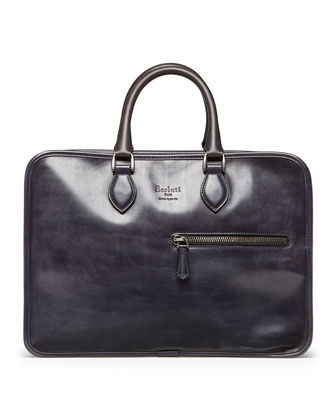 Double-Zip Leather Briefcase, Black
