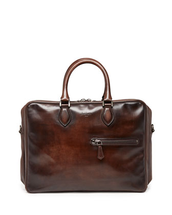 Three-Zip Leather Briefcase, Brown
