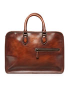 Single-Zip Leather Briefcase, Brown