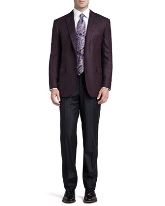 Darted Two-Button Blazer, Basic Dress Shirt, Antique-Paisley Silk Tie & ...