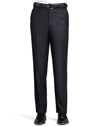 Flannel Flat-Front Pant, Charcoal