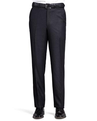 Tic-Weave Sport Coat, Flannel Flat-Front Pants & Antique-Paisley Silk Tie