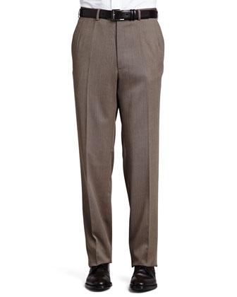 Flat-Front Twill Pants, Tan