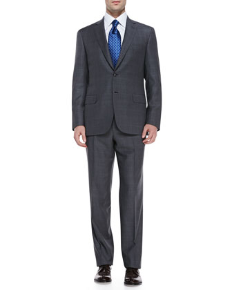 Checked Wool Two-Piece Suit, Gray/Blue