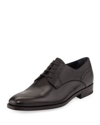Perforated Plain-Toe Derby Shoe