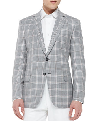 Plaid Jacket with Contrast Deco, Gray/Pink